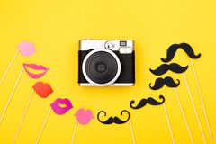 Photo booth props and instant camera royalty free stock photos