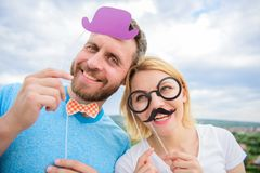 Photo booth props. Man with beard and woman having fun party. Add some fun. Making funny photos birthday party. Just for royalty free stock photos