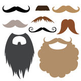 Photo booth props. Props set. Moustache and beard. Moustache and beard party birthday photo booth props. Vector illustration photo booth props Royalty Free Stock Image
