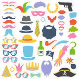 Photo booth props. Props set. Party birthday photo booth props. Hat and mask, moustache and beard, sunglasses and lips, speech bubbles. Vector illustration photo Stock Photography