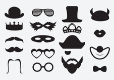 Photo booth props. Vector. Carnival and birthday party icon elements. Black mustaches and hats set Stock Photos
