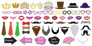 Photo booth props for weddings. Illustrations of accessories. Such as hats, glasses, masks, crowns, lips and moustaches and etc stock illustration