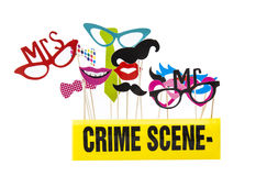 Photo Booth Props. On a White Background with Crime Scene Tape Royalty Free Stock Images