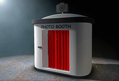 Photo Booth with Red Curtain in the volumetric light. 3d Renderi. Photo Booth with Red Curtain in the volumetric light on a black background. 3d Rendering Stock Photo