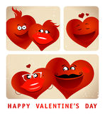 Photo booth series of funny couple hearts Royalty Free Stock Photography