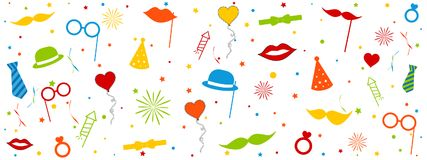 Photo Booth Wedding Carnival Equipment Icons With Circles And Stars - Colorful Vector Illustration - Isolated On White Background stock illustration