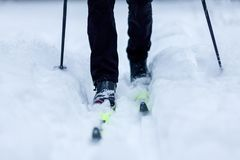 Photo from bottom of skier with sticks. In winter Royalty Free Stock Photos