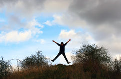 Photo of boy jumping up Royalty Free Stock Images