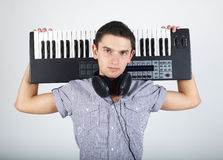 Photo of boy with piano royalty free stock images