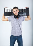 Photo of boy with piano royalty free stock photography