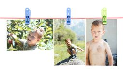 Photo boy on a rope with a clothespin on a white background Royalty Free Stock Photography