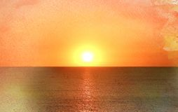 Photo of a bright sea sunset Royalty Free Stock Images