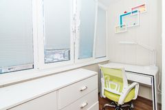 The photo of bright home office on a balcony royalty free stock photo