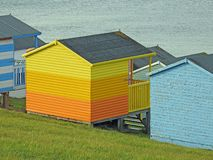 Beach shed chalet hut holiday coast stock photography