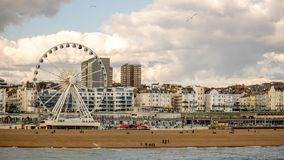 Photo of Brighton Beach Landscape1, Shot from Brighton pier, England. Photo of Brighton Beach Landscape panoramic  view, Shot from Brighton pier, England Royalty Free Stock Images