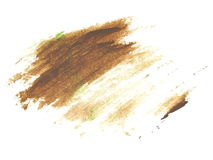 Photo brown grunge brush strokes oil paint isolated on white Royalty Free Stock Photos