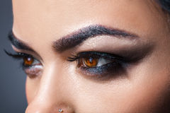 Photo of brown woman eyes looking away Stock Photography