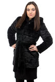 Photo of brunette in fur coat with hood Royalty Free Stock Photos