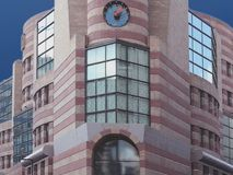 Building with clock. Photo of building for the outside Stock Images