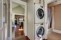 Photo of built-in laundry appliances in bathroom Stock Images