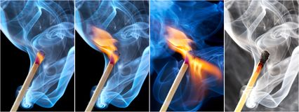 Photo of a burning match Royalty Free Stock Images
