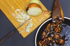 A photo of burnt onion on the teflon pan and wooden spatula. Spoiled unhealthy overcooked burned meal. Onion disgusting leftovers. Messthetics aesthetic Royalty Free Stock Photos