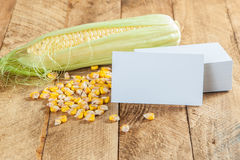 Photo of business cards with corn Stock Image