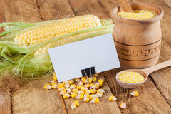 Photo of business cards with corn Royalty Free Stock Photos