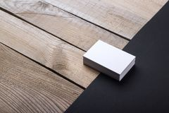 Business cards isolated on old wood background Stock Photos