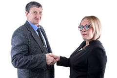 Photo of business man and woman - hand shake Royalty Free Stock Photography