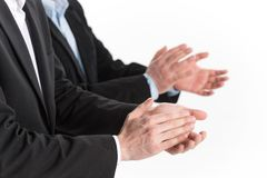 Photo of business people hands applauding at white background. Royalty Free Stock Photo