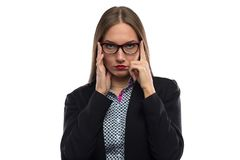 Photo of business woman with hands on temples Royalty Free Stock Image