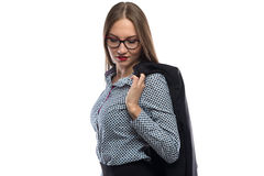 Photo of business woman looking down Stock Photos