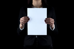 Photo of business woman with paper sheet Royalty Free Stock Photos