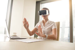Photo of business woman working in virtual reality Royalty Free Stock Image