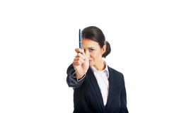 Photo of businesswoman pointing by a pen Royalty Free Stock Images
