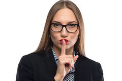 Photo of businesswoman showing silence in glasses Royalty Free Stock Photos