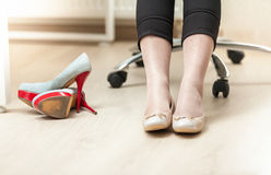 Photo of businesswoman wearing ballet flats Royalty Free Stock Photos