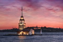Maiden`s Tower at Sunset. Photo of the Byzantine Maiden`s Tower at Sunset royalty free stock photos