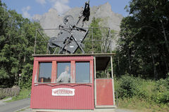 Photo of the cabin of Switzerland's first passenger aerial railway, cableway. Photo of a very old cableway cabin. The first passenger aerial cableway of stock photos