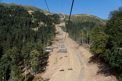 Cable way. Photo of a cable car in the mountains Royalty Free Stock Image