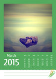 2015 photo calendar. March. Stock Images