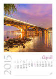 Photo calendar with minimalist cityscape and bridge  2015. April Stock Photos