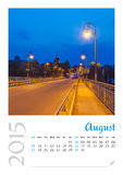 Photo calendar with minimalist cityscape and bridge  2015. August Royalty Free Stock Images