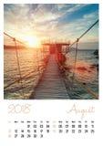 Photo calendar with minimalist cityscape and bridge 2018. August Royalty Free Stock Photos