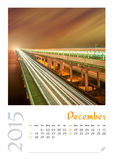 Photo calendar with minimalist cityscape and bridge  2015. December Royalty Free Stock Photography