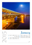 Photo calendar with minimalist cityscape and bridge  2015. January Stock Images