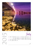 Photo calendar with minimalist cityscape and bridge  2015. July Stock Photography