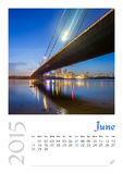 Photo calendar with minimalist cityscape and bridge  2015. June Royalty Free Stock Image