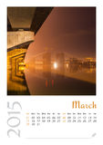 Photo calendar with minimalist cityscape and bridge  2015. March Stock Images